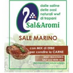 Sale marino con mix erbe per carne, sale marino di Trapani